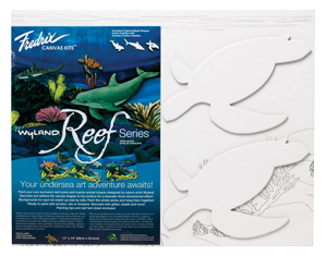 Fredrix Wyland Reef Series - Sea Turtles Kit - Color White - Size 11 x 14 - Case of 12