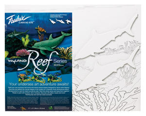 Fredrix Wyland Reef Series - Sharks Kit - Color White - Size 11 x 14 - Case of 12