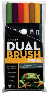 Tombow Dual Brush Pen Secondary Set of 6